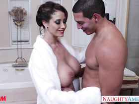 Busty hot brunette milf enjoys hardcore fuck with strong guy