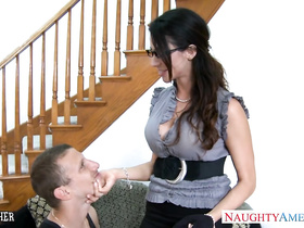 Gorgeous brunette milf got seduced and enjoyed passionate hardcore fuck with young guy