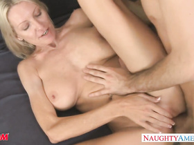 Mature blonde lady is pleasuring hardcore fuck with young guy