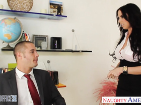 Hot brunette seduces her young boss and enjoys hardcore fuck in the office