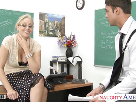 Hungry blonde teacher loved cunnilingus from student and fucked hard in class