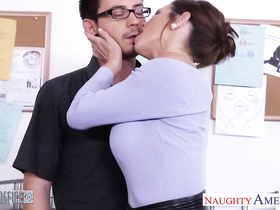 Amazingly horny milf sucks young cock and enjoys hardcore fuck at work