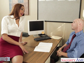 Delicious sweet brown haired girl loved hardcore fuck in the office
