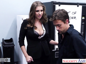Luxurious brown haired milf hotly fucks a young cleaner guy