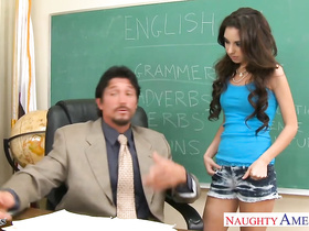 Slutty schoolgirl seduces and blowjobs her teacher before fucking in the class