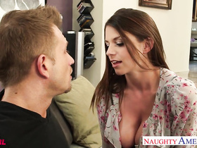 Adorable young brown haired chick got seduced and enjoyed rough hardcore sex