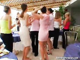 Couple fucks in their own party for the guests to see