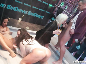 Wild ladies finger fuck on the club stage, orgy