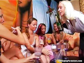 Girls night becomes lesbian orgy with hungry gals