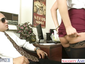 Stockings blonde Kennedy Leigh fucks in the office