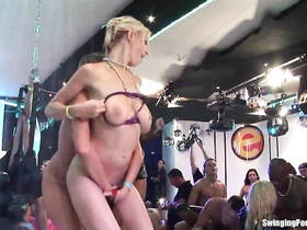 Group of nude students fuck on the club's stage