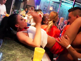Busty girls lying on the bar and getting diddled