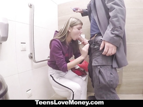 Blonde teen gets seduced to suck dick and get fucked in bathroom