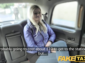 Slutty blonde has no money to pay for cab