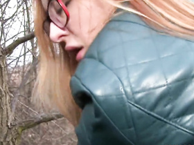 Redhead in glasses gives amateur head, POV