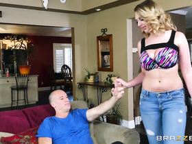 Busty hot blonde undresses and excites her bald fucker