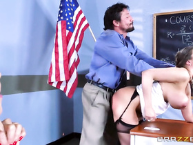 Strong teacher guy hotly fucks with two chicks in classroom