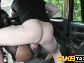 Black beauty babe hotly fucks with fake cab driver on back seat