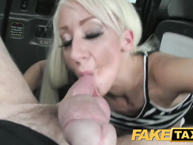 Awesome blonde babe is so glad that caught this fake taxi