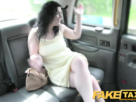 Brunette is sexy dress got seduced and fucked by cab driver