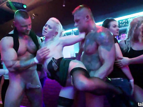 Exciting brunette got fucked by rather guys at night club