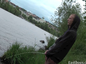 Teen gay dude gets filmed peeing in river and fondled outdoors
