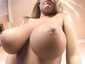 Enormous breasts and purple dildo in this hot solo