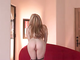Gorgeous blonde excitingly masturbates smoothly shaved pussy