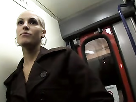 Pierced pussy of Blanche Bradburry fucked in metro car
