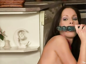 Sexy hot brunette drills her pussy with dildo toy