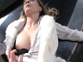 Blonde sucks cock and fucks on the bumper filmed on DVR