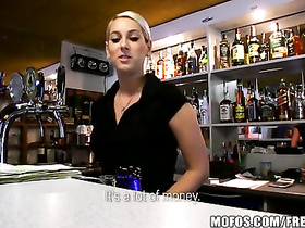 Impressive barmaid blonde got cumshot on beautiful boobs