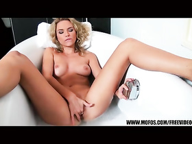 Steaming hot blonde pleasures passionate masturbation with sex toy