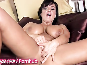 Juicy boobed brunette fucks hot with dildo toys