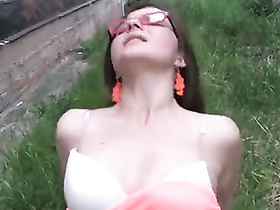 Shy babe in glasses fucked in public by two dicks