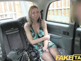 Sexy blonde gets masturbated in the car