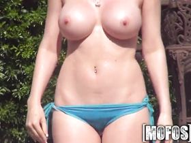 Wonderful young red head babe is doing great blowjob