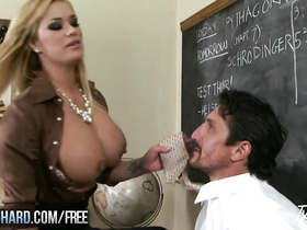 Huge boobed blonde fucks with huge dicked teacher