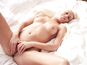 Yummy tight blonde hotly bends and masturbates