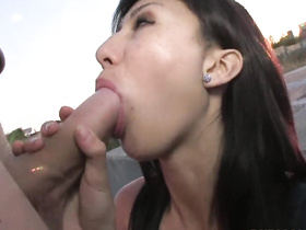 Small tits chick serves one nice bj and gives her pussy