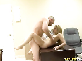Slender slim blonde gets fucked hard on work desk
