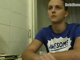Teen guy undresses and experiences hot gay fun for getting money